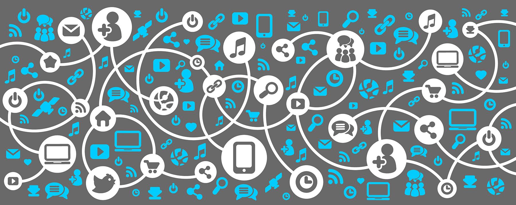 Social media network diagram illustration